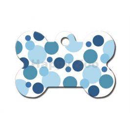QUICK TAG gravírovací známka - kost s modrými tečkami Polka Dots