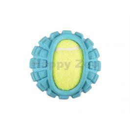 Hračka FLAMINGO guma - míč s tenisákem modrý 5,5cm