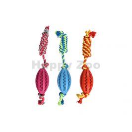 Hračka FLAMINGO guma - dentální rugby míč s provazem 11cm (MIX B