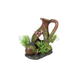 Akvarijní dekorace FLAMINGO - Moza amfora s rostlinami 11x8x11cm