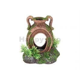 Akvarijní dekorace FLAMINGO - Moza amfora s rostlinami 10x7x11cm