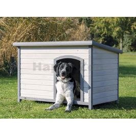 Bouda pro psa TRIXIE Natura s rovnou střechou šedá (L) 116x82x79