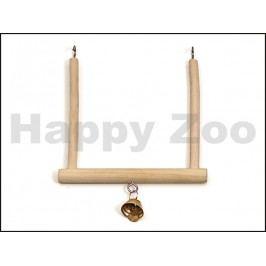 Dřevěná houpačka se zvonečkem pro ptáky KARLIE-FLAMINGO 13x12cm