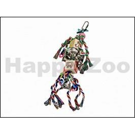 Hračka pro ptáky KARLIE-FLAMINGO - bavlněné provazy se zvonky a