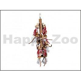 Hračka TRIXIE pro ptáky - závěsná dřevěná hračka s koženými pásk
