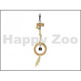 Hračka pro ptáky TOMMI - dřevěný kruh s rolničkou na sisalu 32cm