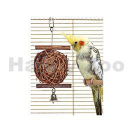 Hračka pro ptáky FLAMINGO - dřevěný splétaný míček se zvonkem 5x