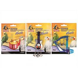Hračka pro ptáky FLAMINGO - hudební nástroje 8cm (MIX BAREV)