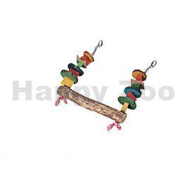 Hračka pro ptáky FLAMINGO - závěsná dřevěná barevná houpačka 4,5