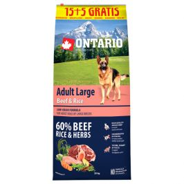 Ontario adult large beef & rice 15+5kg