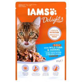 Kapsička iams pro kočky s masem z tuňáka a sledě v želé 85g