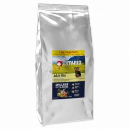 Ontario adult mini lamb and rice 6,5kg + 1kg zdarma