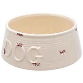 Miska DOG FANTASY keramická potisk Dog bílá s fialovými body 20,5 cm