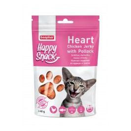 Beaphar Pochoutka Happy Snack Cat srdíčka z kuřecího masa a tresky 40g