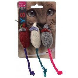 Hračka MAGIC CAT myška jutová barevná s catnipem 7,5cm