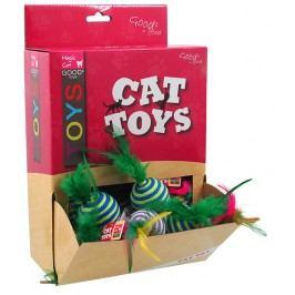 Hračka Magic Cat míček s pruhy a pírky bavlna 4,5cm 30ks