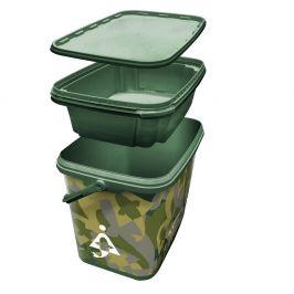 Bait-Tech Kbelík 8L Square Camo Bucket with Insert Tray