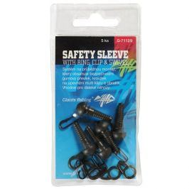 Giants Fishing Montáž Safety Sleeve with Ring, Clip a Swivel 5ks