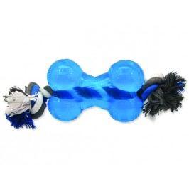Hračka DOG FANTASY Strong kost gumová s provazem modrá 13,9 cm