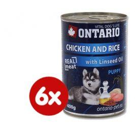 Ontario konzerva Puppy Chicken, Rice and Linseed Oil 6 x 400g