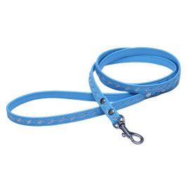 BAFPET Vodítko STŘÍBRNÉ VLNKY, koženka 1,2 m modrá