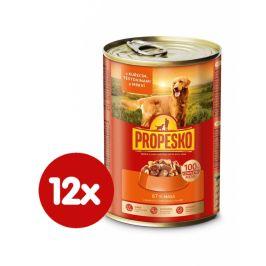 Propesko kousky pes kuře, mrkev, těstoviny 12x415 g