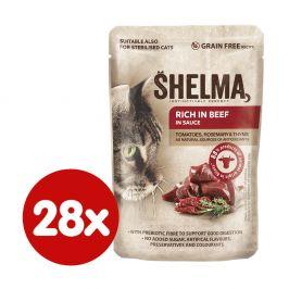 SHELMA bezobilné dušené filetky bohaté na hovězí s rajčaty a bylinkami v omáčce 28x85 g