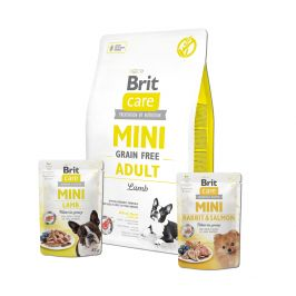 Brit Care Mini Grain Free Adult Lamb 2 kg + 2x pouch 85g