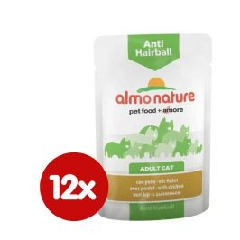 Almo Nature Functional WET Anti-Hairball - kuře 12 x 70 g
