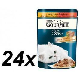 Gourmet Perle Duo s kuřecím a hovězím masem 24 x 85g
