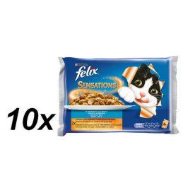 Felix Sensations s lososem v želé s příchutí krevet + s treskou a želé s rajčaty 10x (4x100g)