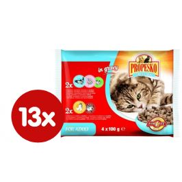 Propesko kapsa kočka kuře a hovězí+losos a krevety 13x( 4 x 100g)