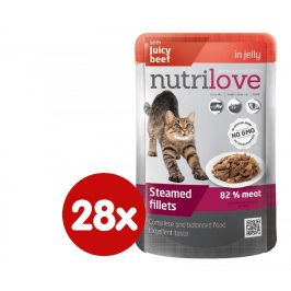 Nutrilove Cat pouch NMP, jelly beef 28 x 85g