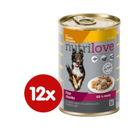 Nutrilove Dog chunks, jelly CHICKEN NOODLES 12 x 415g