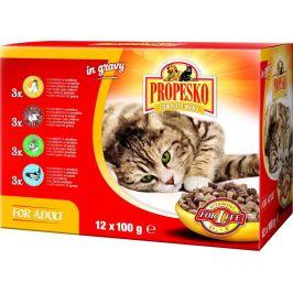Propesko kapsa kočka kuře+hovězí+králík+losos 4x (12 x 100g)