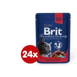 Brit Premium Cat Pouches with Beef Stew & Peas 24 x 100g