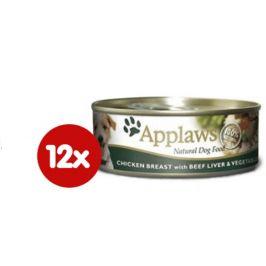 Applaws Konzerva Dog - kuře, hovězí játra a zelenina 12 x 156g