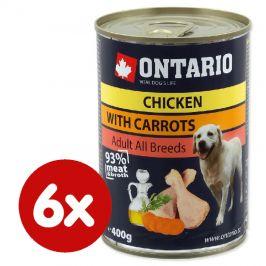 Ontario konzerva kuřecí, karotka a lososový olej 6 x 400g