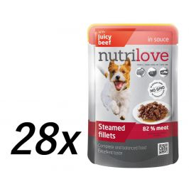 Nutrilove Dog pouch NMP, gravy BEEF 28 x 85g