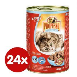 Propesko kousky kočka s lososem a pstruhem v omáčce 24 x 415g