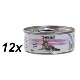 Ontario konzerva Cat Junior Chicken Pieces+Shrimp 12x95g