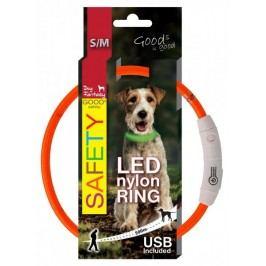 Dog Fantasy Obojek LED nylonový oranžový vel. 45