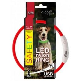 Dog Fantasy Obojek LED nylonový červený vel.45