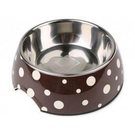 Dog Fantasy nerez misnerez miska kulatá hnědá s puntíky 160ml