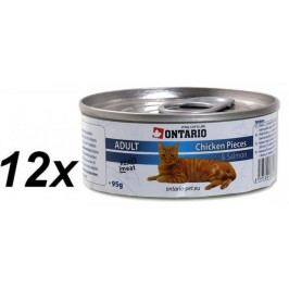 Ontario konzerva Cat Chicken Pieces + Salmon 12x95g