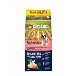Ontario Puppy & Junior Large Chicken & Potatoes 15 + 5 kg zdarma