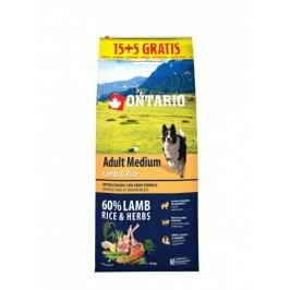 Ontario Adult Medium Lamb & Rice 15 + 5 kg Zdarma