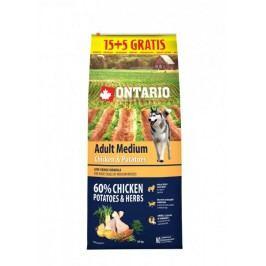 Ontario Adult Medium Chicken & Potatoes 15 + 5 kg Zdarma